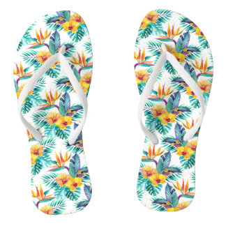 Bird Of Paradise & Orchid Pattern Thongs
