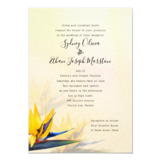 Bird of Paradise Parents Names Wedding Invitation