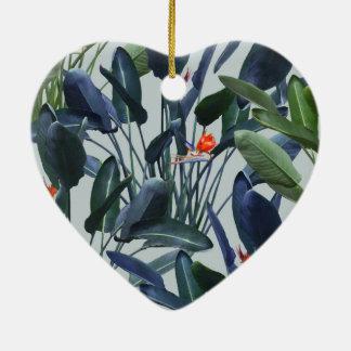 Bird of Paradise Pattern V2 heart ornament