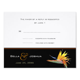 Bird of Paradise RSVP 11 Cm X 14 Cm Invitation Card