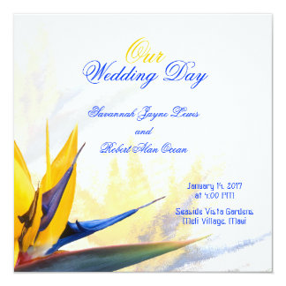 Bird of Paradise Square Wedding Program Template