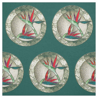 Bird of Paradise Stained Glass Look Fabric