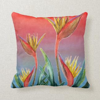 Bird of Paradise troical floral pillow