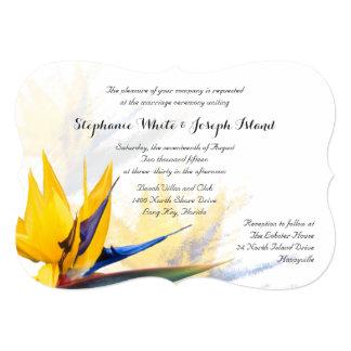 Bird of Paradise Tropical Beach Wedding 13 Cm X 18 Cm Invitation Card