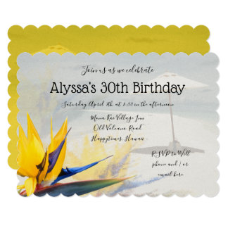 Bird-of-Paradise Tropical Birthday Party Invite