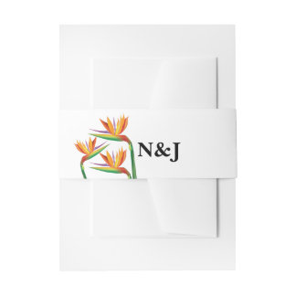 Bird of Paradise Tropical Floral Wedding Invitation Belly Band