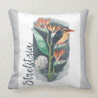 Bird of Paradise watercolor Cushion