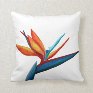 Bird of Paradise Watercolor Pillow