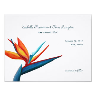 """Bird of Paradise Watercolor Save the Date Card 4.25"""" X 5.5"""" Invitation Card"""
