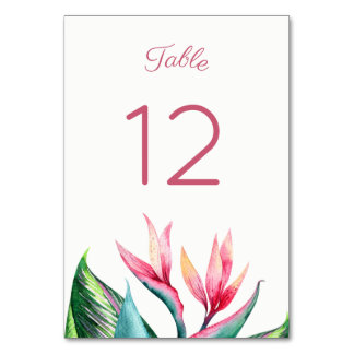 Bird of Paradise Watercolor Table Number Cards
