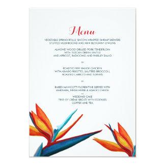 Bird of Paradise Watercolor Wedding Menu 13 Cm X 18 Cm Invitation Card