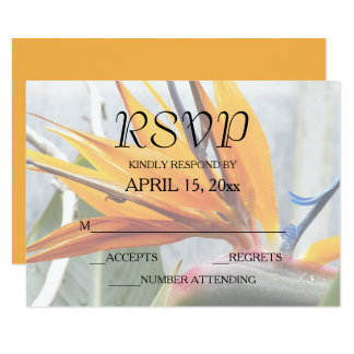 Bird of Paradise Wedding RSVP Card