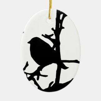 Bird on a Branch Ceramic Oval Decoration