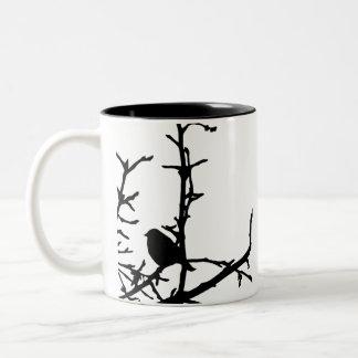 Bird on a Branch Two-Tone Coffee Mug