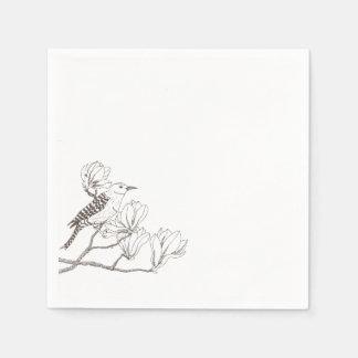 Bird on a Magnolia Branch Sketch   Napkin Disposable Napkins