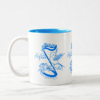 Bird On A Musical Note With Flowers Coffee Mug