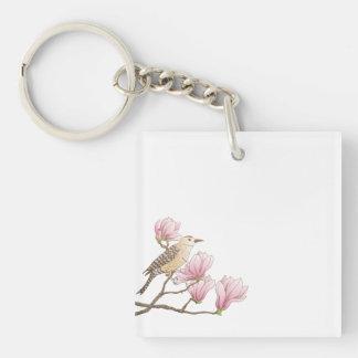 Bird on a Pink Magnolia Branch Sketch Keychain