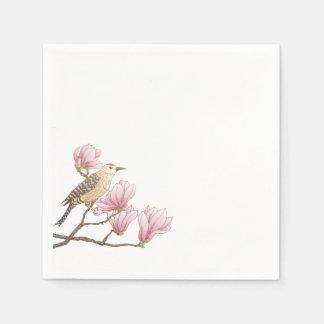 Bird on a Pink Magnolia Branch Sketch | Napkin Paper Napkin