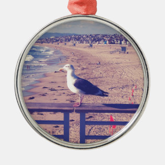Bird On A Rail Silver-Colored Round Decoration