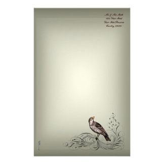 Bird on a Scroll (Brown) Customised Stationery