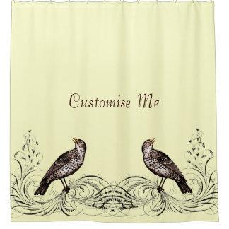 Bird on a Scroll (Brown) Shower Curtain