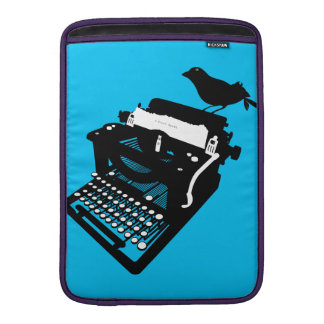 Bird on a Typewriter Macbook Sleeve (blue bckgrd)