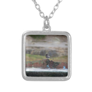 bird on a wall silver plated necklace