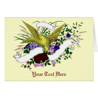 Bird on Bouquet (Full Colour) Greeting Card
