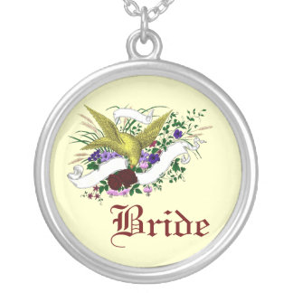 Bird on Bouquet (Full Colour) Round Pendant Necklace