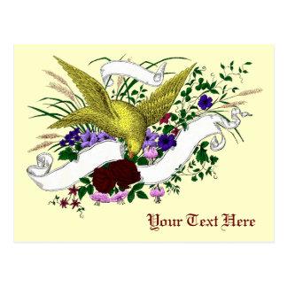 Bird on Bouquet (Full Colour) Postcard