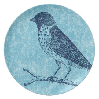 Bird on Branch Blue Plate