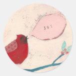 bird on branch card round sticker