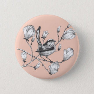 bird on magnolia tree pink button