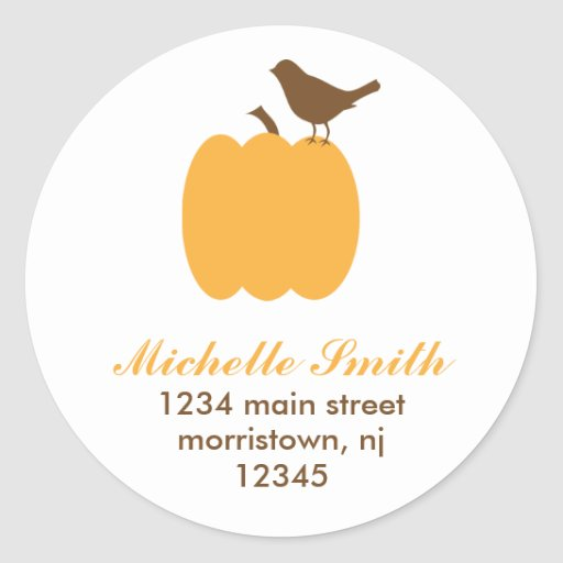Bird on Pumpkin Address Labels Round Stickers