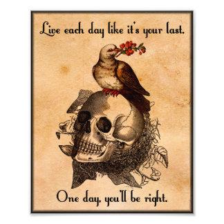 "Bird on Skull ""Live Each Day Like It's Your Last"" Photo Art"