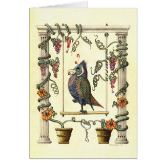 Bird on Swing Greeting Cards