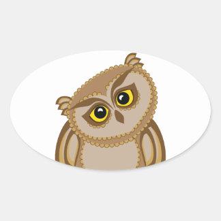 bird owl 2 oval sticker