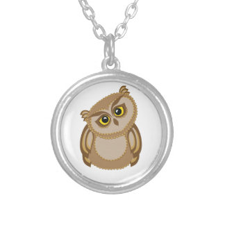 bird owl 2 silver plated necklace
