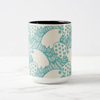 """""""Bird Pattern"""" Two-Tone Coffee Mug"""