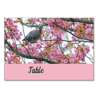 Bird perched on a blossoming Sakura table card