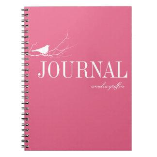 Bird perched on tree branch pink custom journal notebooks