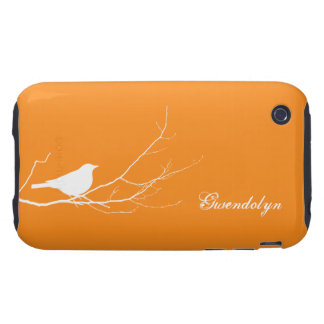 Bird perched on tree branch white orange chic tough iPhone 3 cases