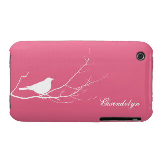Bird perched on tree branch white pink chic iPhone 3 Case-Mate case