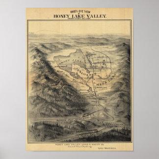 Bird s eye view Honey Lake Valley Poster