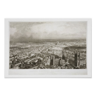 Bird s Eye View of London from Westminster Abbey Poster