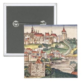 Bird s Eye View of Prague from the Nuremberg Chron Pinback Buttons