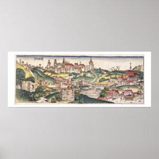 Bird s Eye View of Prague from the Nuremberg Chron Poster