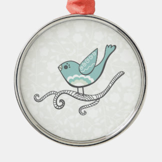 Bird Silver-Colored Round Decoration