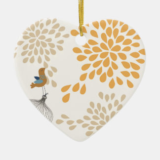 Bird singing outside the cage ceramic heart decoration