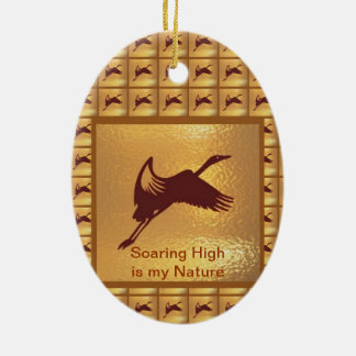 BIRD: Soaring High is my nature Double-Sided Oval Ceramic Christmas Ornament
